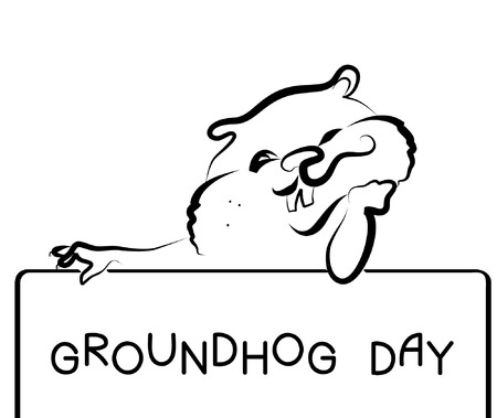 földi: Symbol of Groundhog day with text. Vector black graphic