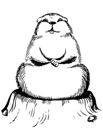 erdboden: Groundhog Day. Vektor-Grafik-Postkarte