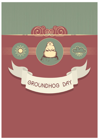Groundhog day with text. Vector graphic postcard Vector