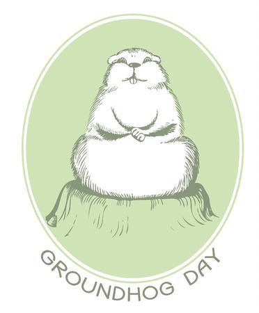 erdboden: Groundhog Day mit Text. Vektor-Grafik-Postkarte Illustration