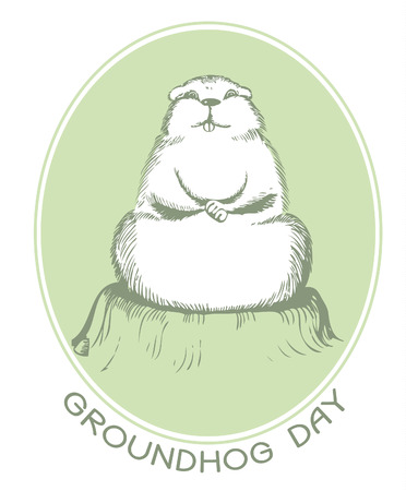 marmot: Groundhog day with text. Vector graphic postcard