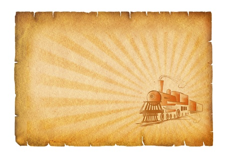 Old paper background with locomotive.Grunge texture Stock Photo - 8589191