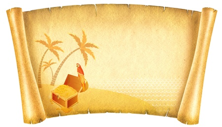 scroll up: Old paper background.Antique scroll with chest on island. Stock Photo