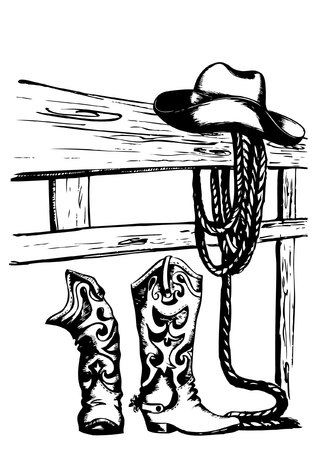 rancher: cowboy elements on white
