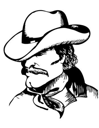 cowboy silhouette: Cowboy portrait.graphic image