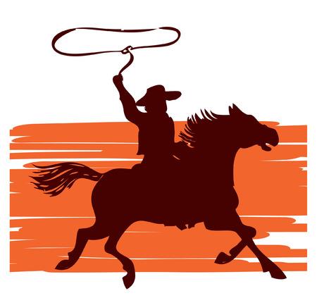vaquero: Cowboy en caballo con lasso.graphic Vectores