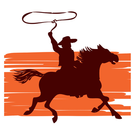 Cowboy on horse with lasso.graphic