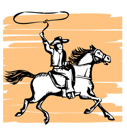 Cowboy on horse with lasso.graphic Vector