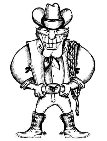 Smiling cowboy with lasso.cartoons on white Vector