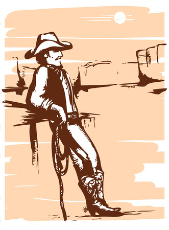 Cowboy on rancho with lasso.graphic image. Vector