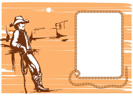 wild wild west: Cowboy su rancho con sfondo lasso.graphic