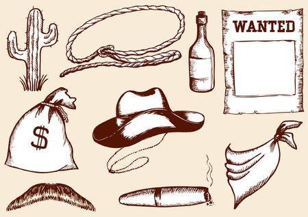 cowboy elements for design Vector