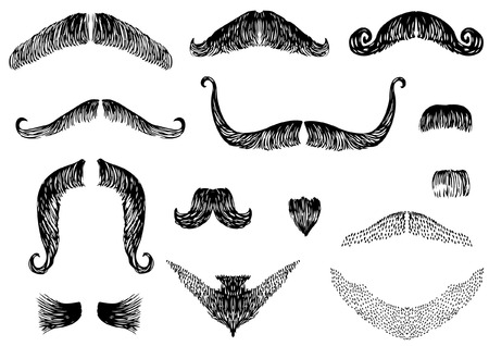 style goatee: mustaches on white for design