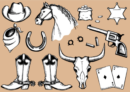 cowboy elements for design Vector