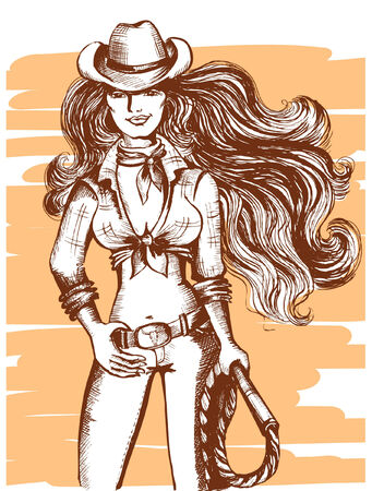 black cowgirl:   sexy woman in cowboy hat and clothes Illustration