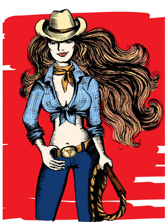 sexy cowgirl with lasso Vector