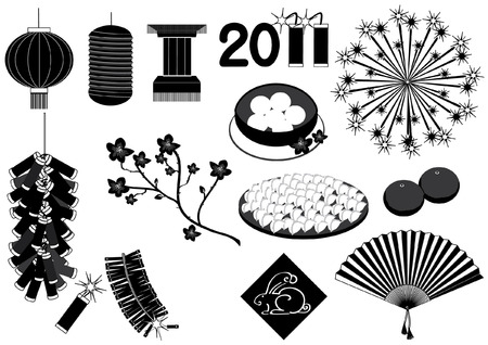 firecrackers: Vector Chinese new year elements on white for celebrations