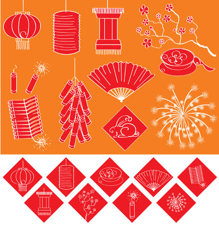 Chinese new year elements for celebrations.Vector  Vector