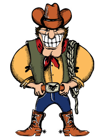 rancher: Smiling cowboy with lasso.Vector strong man Illustration