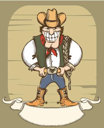 Smiling cowboy with lasso.Vector vintage image Vector