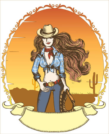 Vector sexy woman in cowboy hat and clothes.Cowgirl Vector