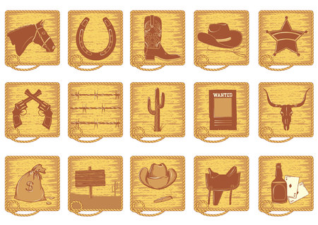 Icons elements for cowboy life.Vector silhouettes