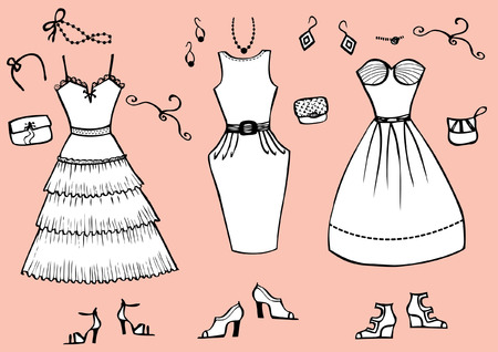 Fashion dresses and accessories for woman.Vector graphic clothes for design Stock Vector - 8807572