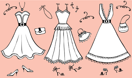 Fashion dresses and accessories for woman.Vector graphic clothes for design Vector