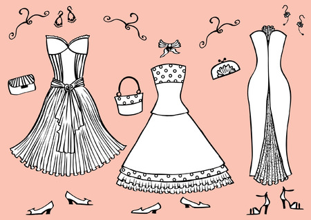 Fashion dresses and accessories for woman.Vector graphic clothes for design Stock Vector - 8807571