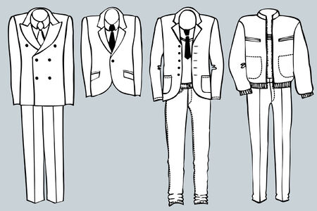 Fashion clothes for man.Vector black silhouette of suits. Vector