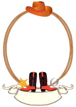 american rodeo: Cowboy poster sfondo per design con elementi di cowboy.Vector Vettoriali