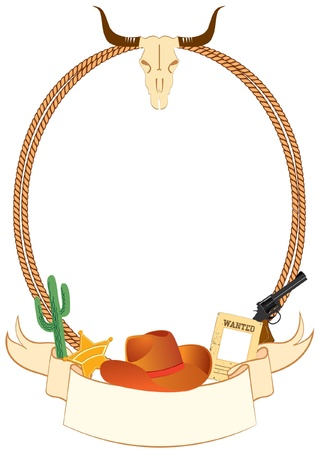 Cowboy poster background for design with cowboy elements.Vector Stock Vector - 8807584