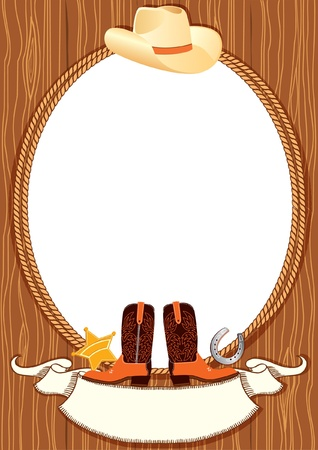Cowboy poster background for design with cowboy elements.Vector Illustration