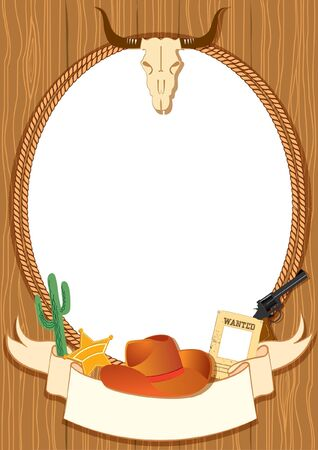 cowboy gun: Cowboy poster background for design with Vector cowboy elements