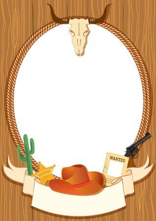 Sfondo di cowboy poster per il design con gli elementi di vettore cowboy