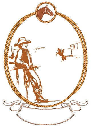 Vector cowboy poster background for design with rope frame Vector