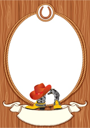 Cowboy poster background for design with cowboy elements.Vector Vector