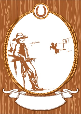 rodeo americano: Fondo de cartel de cowboy vector para dise�o con marco de cuerda Vectores