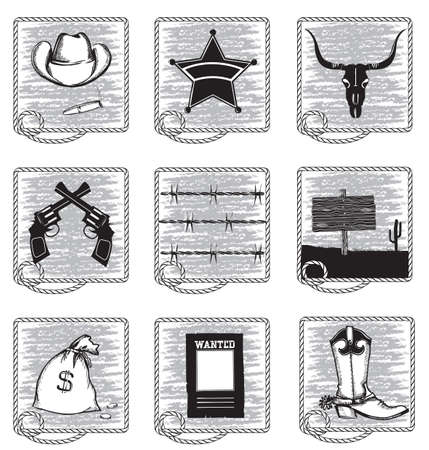 Cowboy life elements .Vector black silhouettes symbols on white Vector