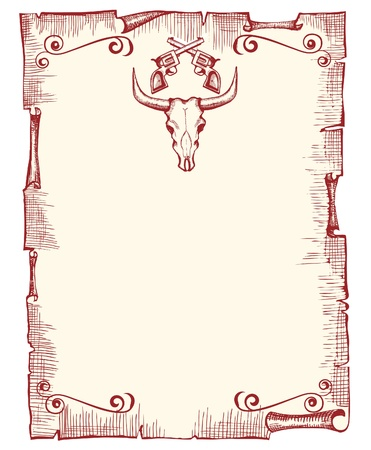 Cowboy old paper background for text with bull skull and guns.Vector vintage image Illustration