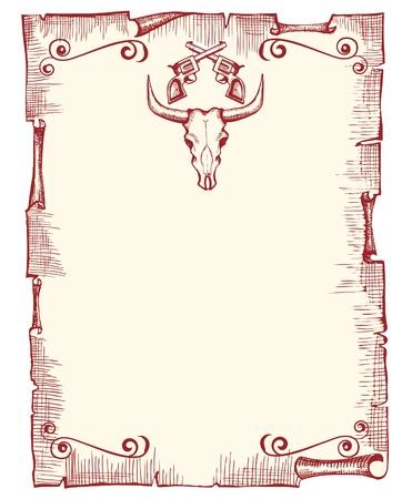 wild wild west: Cowboy vecchio sfondo di carta per il testo con il cranio di toro e pistole.Vintage immagine vettoriale