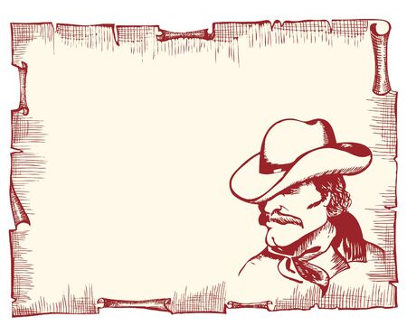 paper hats: Cowboy portrait on old paper background for text.Vector image of strong man Illustration