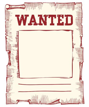 Vector wanted poster image on white Vector