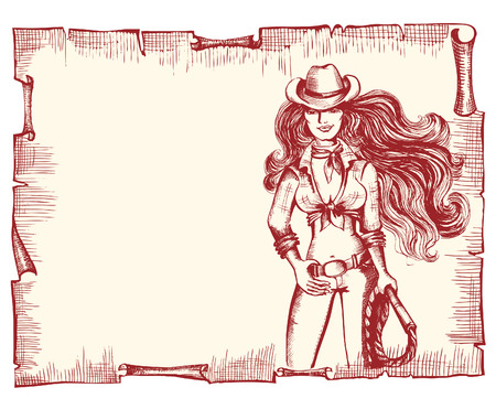 Cowgirl with lasso.Vector woman on old paper background