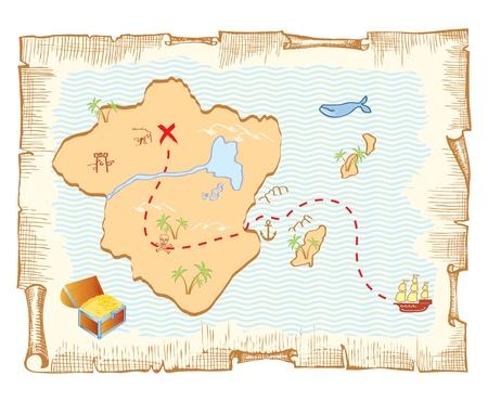 carte tr�sor: Carte au Tr�sor. Fond de papier vieux de vecteur Illustration