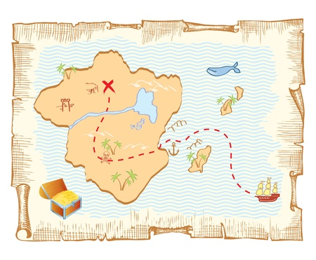 treasure: Treasure map. Vector old paper background Illustration