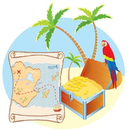 coin box: Pirates treasure with parrot and palms. Vector cartoons