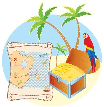 Piratenschatz mit Papagei und Palmen. Vector Karikaturen Lizenzfreie Bilder - 8909693
