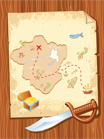 Old parchment with pirate map and dagger- vector illustration. Vector
