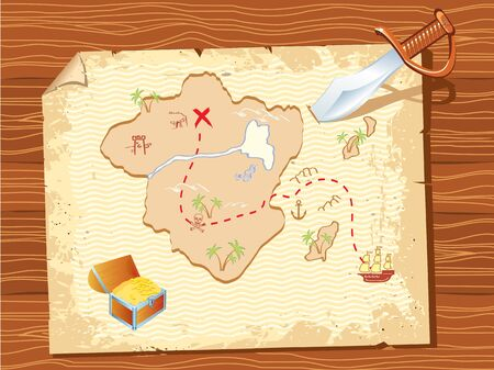 quest: Old parchment with pirate map and dagger- vector illustration.